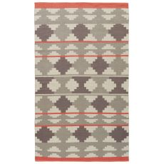 Contemporary Tribal Pattern Gray/Pink Cotton Area Rug ( 8X11)