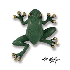 Tree Frog Door Knocker, Brass/Blue/Green Patina (Premium)