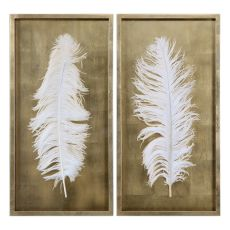 Uttermost White Feathers Gold Shadow Box S/2