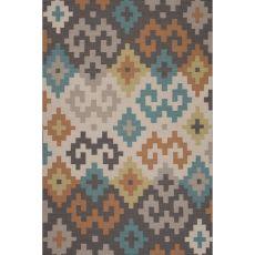 Flatweave Tribal Pattern Gray/Ivory Wool Area Rug (9X12)