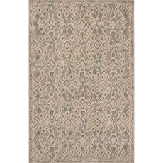 Contemporary Tribal Pattern Taupe/Tan Wool Area Rug (8X11)