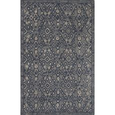 Contemporary Tribal Pattern Blue Wool Area Rug (8X11)