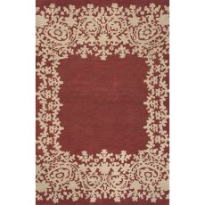 Contemporary Border Pattern Red Wool Area Rug (8X11)