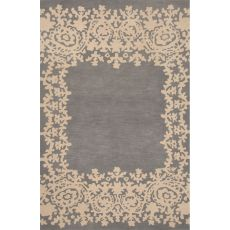 Contemporary Border Pattern Blue Wool Area Rug (8X11)