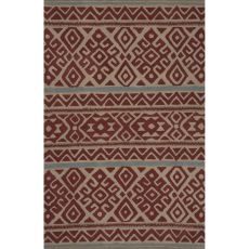 Contemporary Tribal Pattern Red Wool Area Rug (8X11)