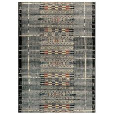 "Liora Manne Marina Tribal Stripe Indoor/Outdoor Rug Black 23""X7'6"""