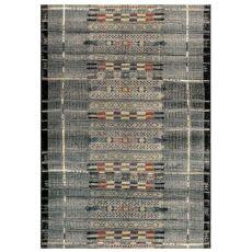 "Liora Manne Marina Tribal Stripe Indoor/Outdoor Rug Black 39""X59"""