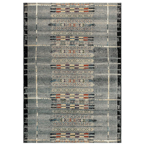 "Liora Manne Marina Tribal Stripe Indoor/Outdoor Rug Black 6'6""X9'4"""