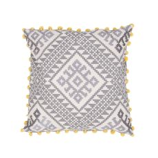 """Traditional & Classic Pattern Gray/Yellow Cotton And Linen Down Fill Pillow ( 20""""X20"""")"""