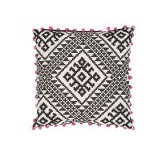 """Traditional & Classic Pattern Black/Pink Cotton And Linen Down Fill Pillow ( 20""""X20"""")"""
