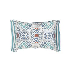 """Traditional & Classic Pattern Blue/Multi Cotton And Linen Down Fill Pillow ( 14""""X20"""")"""