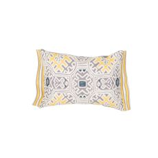 """Traditional & Classic Pattern Yellow/Ivory Cotton And Linen Down Fill Pillow ( 14""""X20"""")"""