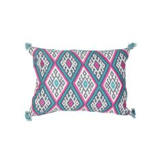 "Geometric Pattern Blue/Pink Cotton And Linen Down Fill Pillow ( 14""X20"")"