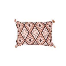 "Geometric Pattern Orange/Multi Cotton And Linen Down Fill Pillow ( 14""X20"")"