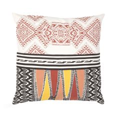 """Modern/Contemporary Pattern Red/Multi Cotton Down Fill Pillow ( 22""""X22"""")"""