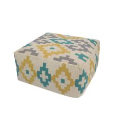 """Yellow/Taupe Cotton And Polyester Pouf (24""""X24""""X12"""")"""