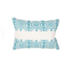 "Modern/Contemporary Pattern Blue/Ivory Cotton Down Fill Pillow ( 14""X20"")"