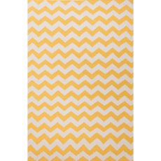 Flatweave Chevrons Pattern Yellow/Ivory  Wool Area Rug (8X10)
