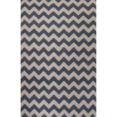 Flatweave Chevrons Pattern Blue/Ivory Wool Area Rug (9X12)