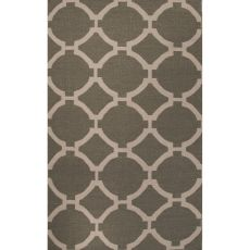 Flatweave Trellis, Chain And Tile Pattern Green/Ivory Wool Area Rug (8X10)