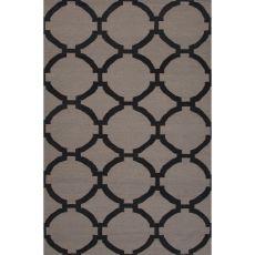 Flatweave Trellis, Chain And Tile Pattern Gray/Black Wool Area Rug (8X10)
