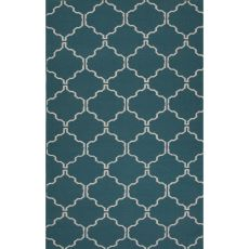 Flatweave Trellis, Chain And Tile Pattern Blue/Ivory Wool Area Rug (8X10)