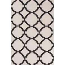 Flatweave Trellis, Chain And Tile Pattern Ivory/Black Wool Area Rug (8X10)