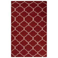 Flatweave Trellis, Chain And Tile Pattern Red Wool Area Rug (9x12)