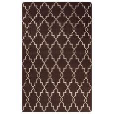 Flatweave Trellis, Chain And Tile Pattern Brown Wool Area Rug (9X12)
