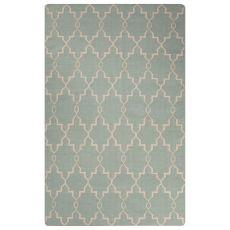 Flatweave Trellis, Chain And Tile Pattern Blue Wool Area Rug (9X12)