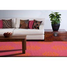 Flatweave Medallion Pattern Pink/Orange Wool Area Rug (9X12)