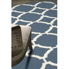 Flatweave Trellis, Chain And Tile Pattern Blue/Ivory Wool Area Rug (9X12)