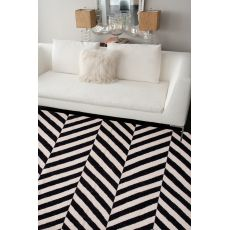 Flatweave Chevrons Pattern Black/White Wool Area Rug (9X12)