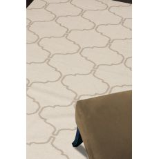 Flatweave Trellis, Chain And Tile Pattern Ivory/Taupe Wool Area Rug (8X10)