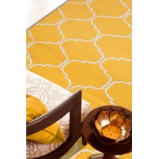 Flatweave Trellis, Chain And Tile Pattern Yellow/Ivory Wool Area Rug (9X12)