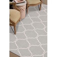 Flatweave Trellis, Chain And Tile Pattern Gray/Ivory Wool Area Rug (9x12)