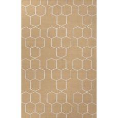 Flatweave Tribal Pattern Taupe/Ivory  Wool Area Rug (8X10)