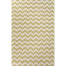 Flatweave Chevrons Pattern Green/Ivory  Wool Area Rug (8X10)