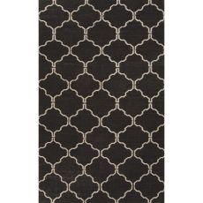 Flatweave Trellis, Chain And Tile Pattern Black/White  Wool Area Rug (8X10)