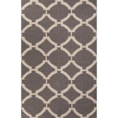 Flatweave Trellis, Chain And Tile Pattern Gray/Ivory  Wool Area Rug (8X10)