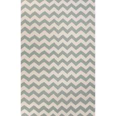 Flatweave Chevrons Pattern Blue/Ivory  Wool Area Rug (8X10)
