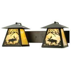 """24"""" W Moose At Dawn 2 Lt Wall Sconce"""