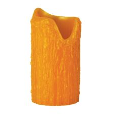"""4"""" W X 8"""" H Poly Resin Honey Amber Uneven Top Candle Cover"""