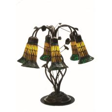 """19"""" H Tiffany Pond Lily Amber And Green 6 Lt Table Lamp"""
