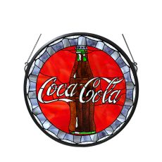 "21"" W X 21"" H Coca-Cola Bottle Cap Stained Glass Window"