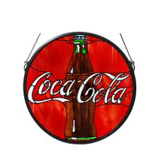 "21"" W X 21"" H Coca-Cola Button Stained Glass Window"