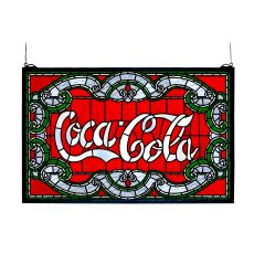 """24"""" W X 15"""" H Coca-Cola Victorian Stained Glass Window"""