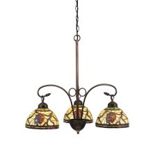 "28"" W Pinecone Dome 3 Lt Chandelier"