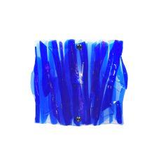 "11"" W Metro Fusion Azul Glass Panel Wall Sconce"