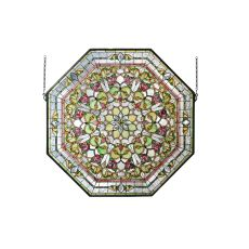 """35"""" W X 35"""" H Floral Stained Glass Window"""